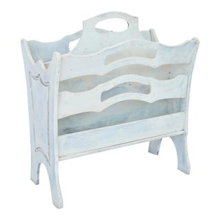 White Painted Magazine Rack For Sale