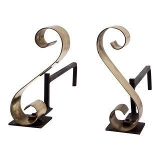 Scroll Andirons in Polished Brass - a Pair For Sale