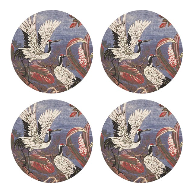 """Summer Palace Ducal, 16"""" Round Pebble Placemats, Set of 4 For Sale"""