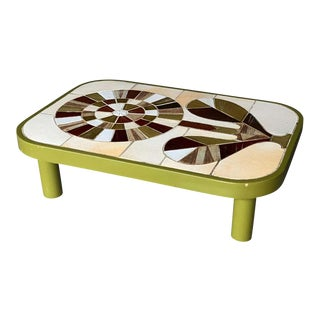 Green Cocktail Table With Ceramic Tile Top, Roger Capron, France, 1960s For Sale