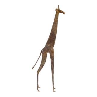 Mid 20th Century African Light Patina Bronze Giraffe For Sale