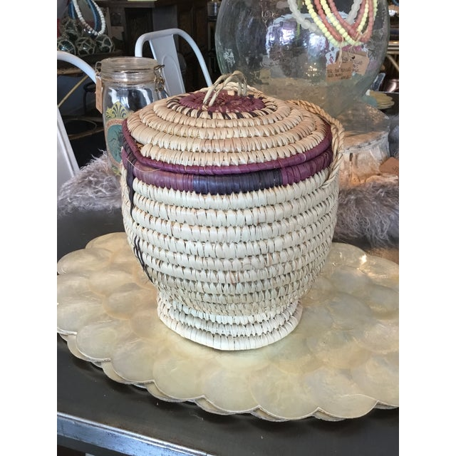 Purple Nigerian Woven Basket For Sale - Image 8 of 8