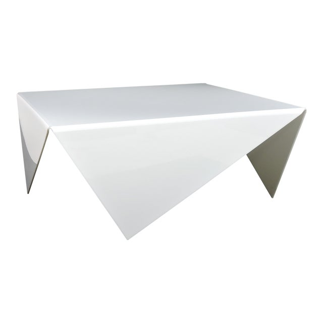 Mid-Century Modern Bertin France Mouchoir Style White Acrylic Coffee Table For Sale