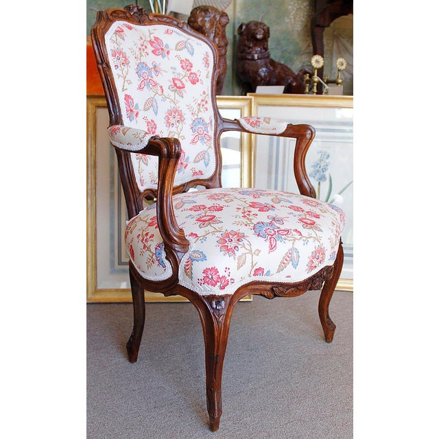 18th Century French Provincial French Louis XV Fauteuil Arm Chairs - a Pair - Image 9 of 10
