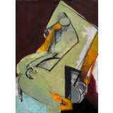 Image of Contemporary Abstract Cubist Nude Figure Mixed Media Painting on Paper For Sale
