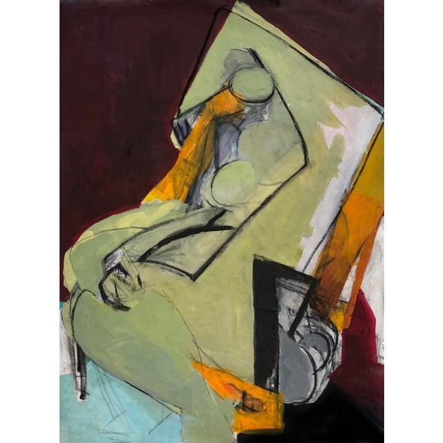 Contemporary Abstract Cubist Nude Figure Mixed Media Painting on Paper For Sale