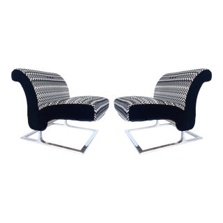 Mid-Century Modern Stainless Upholstered Slipper Chairs-Pair For Sale