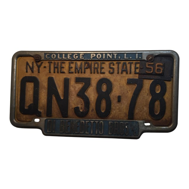 Vintage 1956 New York State License Plate For Sale