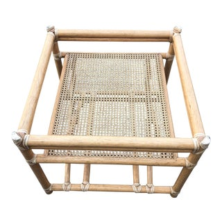 1980s Vintage McGuire Bamboo Rattan End Table Base For Sale