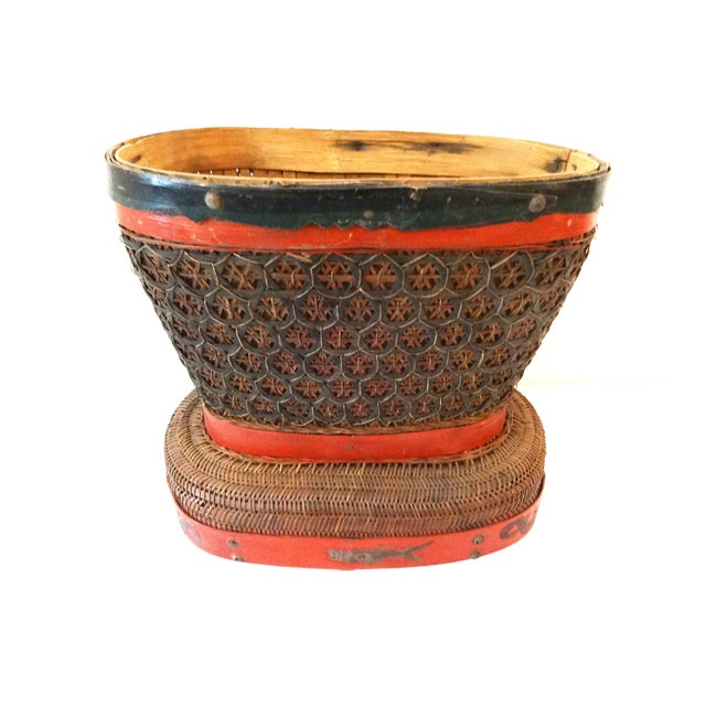 Superb antique red, brown, and black Chinese wedding basket, perfect for stashing everything from towels to magazines. It...
