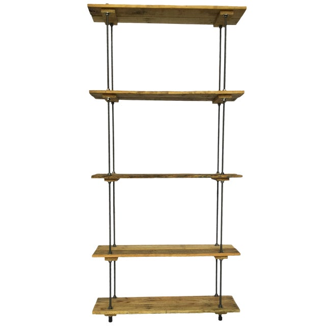Industrial Tall Recycled Wood and Metal Rod Adjustable Bookcase Shelf For Sale