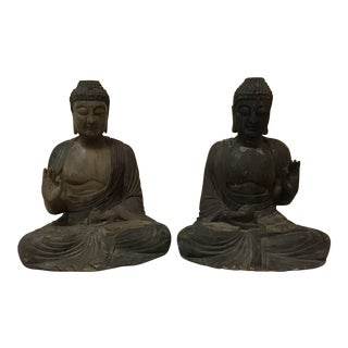 19th Century Figurative Carved Wood Buddha Statues - a Pair