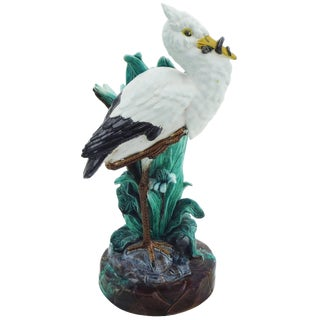 19th Century English Majolica Stork Vase Signed Joseph Holdcroft For Sale