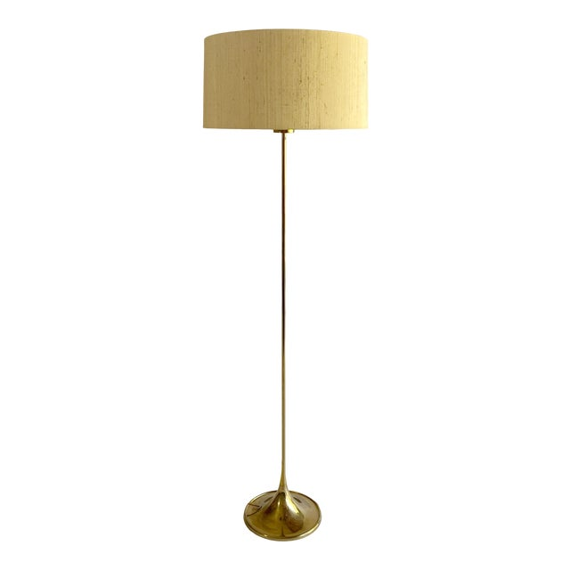 Bergboms Model G-025 Brass Floor Lamp With Silk Shade For Sale