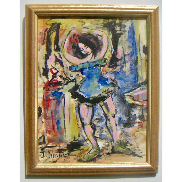 An expressionist portrayal of a Ballerina by Irene Dobrushken, gouache or tempera on artist board, 1970s. Painting size:...