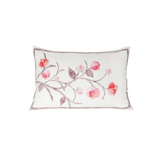 Linen Flower on Vine Pillow For Sale
