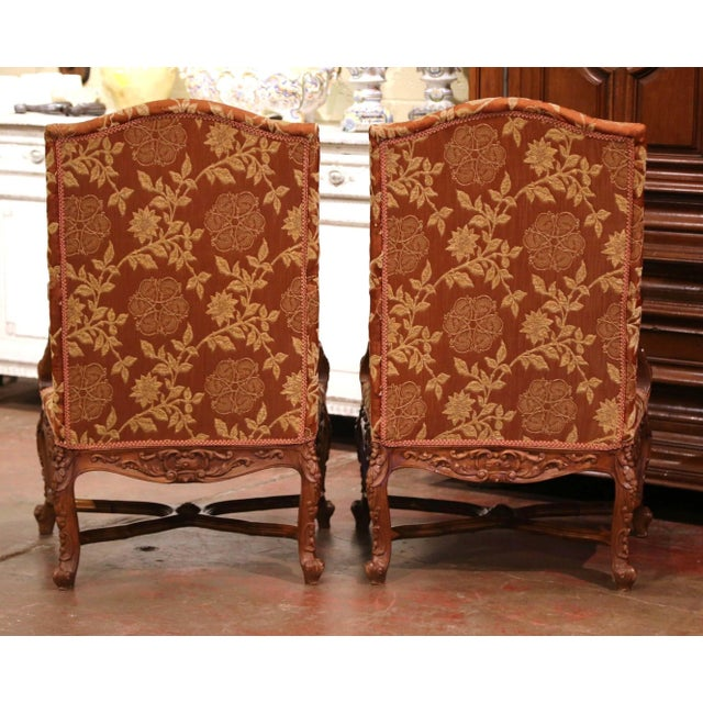 19th Century Louis XV Carved Walnut Armchairs From Provence - a Pair For Sale - Image 4 of 13