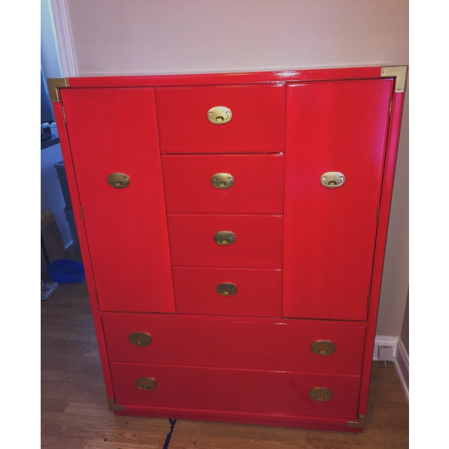 Lacquer Thomasville Campaign Style Red Lacquered Armoire For Sale - Image 7 of 10