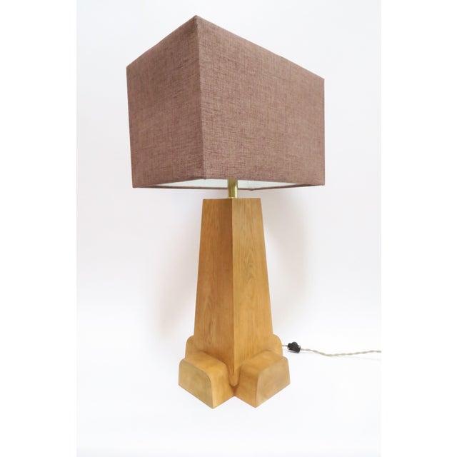Mid-Century Modern Martin & Brockett Cross Base Pine Table Lamp For Sale - Image 3 of 6