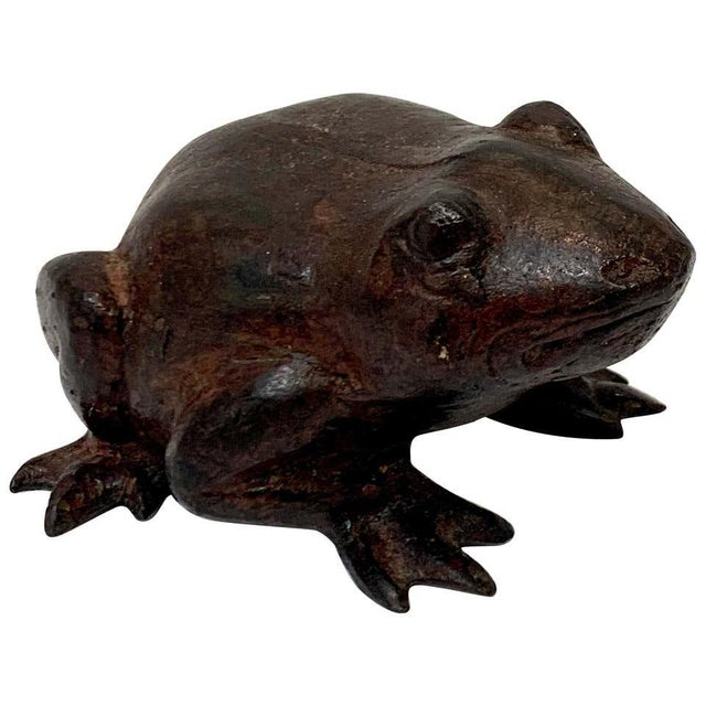 Chinese Bronze Frog Sculpture For Sale - Image 9 of 9