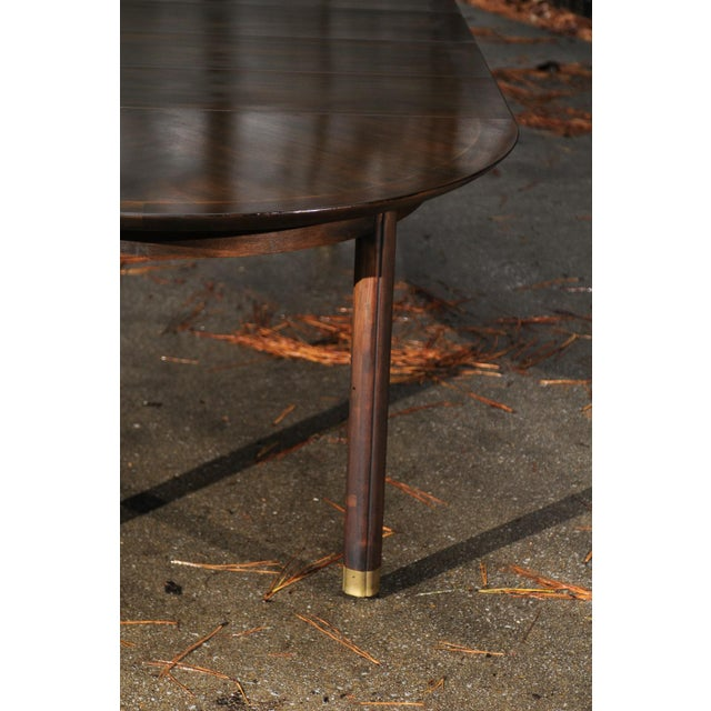 Mid-Century Modern Majestic Restored Elliptical Walnut Extension Dining Table by Baker, circa 1958 For Sale - Image 3 of 11