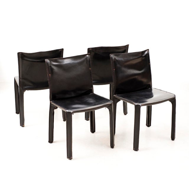 1970s Set of 10 Cab Chairs by Mario Bellini--6 Arm, 4 Side--In Black Leather, 1970s For Sale - Image 5 of 13