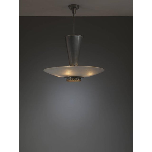 Large Dutch 1920s Chandelier, Nickel-Plated Copper and White Glass Shade - Image 2 of 4