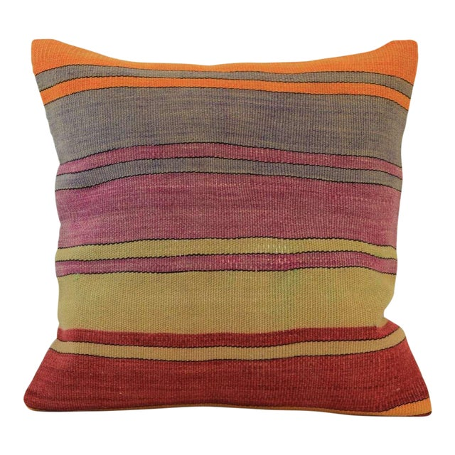 Vintage Turkish Striped Kilim Pillow Cover - Image 1 of 7