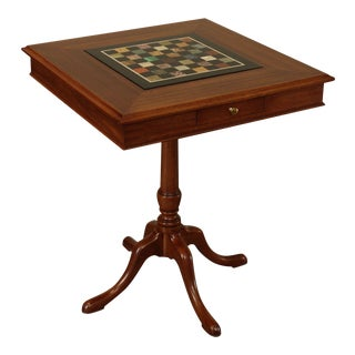 Marquart Custom Mahogany Square Game Table with Specimen Marble Chess Board Top For Sale