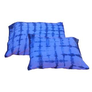 Indigo Shibori Standard Pillow Shams - A Pair For Sale