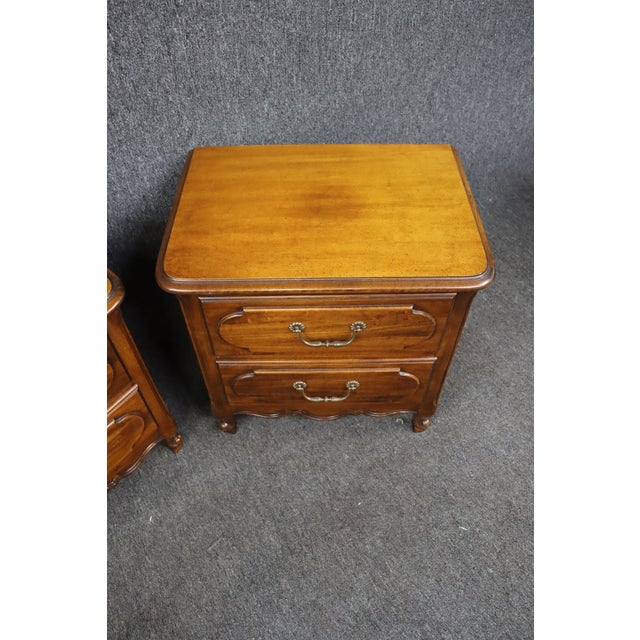 Louis XV Style Fruitwood Nightstands- a Pair For Sale - Image 4 of 7