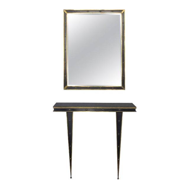 Mid-Century Italian Console and Mirror by Charles PiGuet For Sale