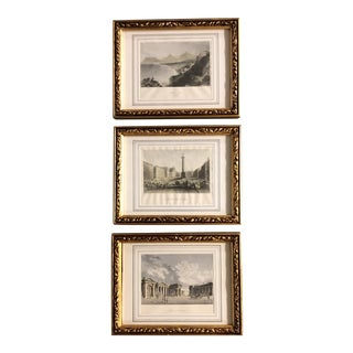 Gallery Wall Collection 3 Vintage Architectural Engravings of Ireland Ornate Frames For Sale