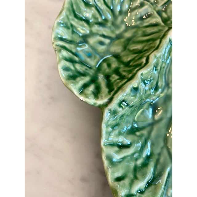 Bordallo Pinheiro Vintage Majolica Green Cabbage Divided Serving Platter For Sale - Image 4 of 6