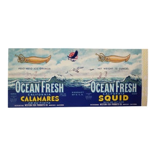 "Vintage Crate Label ""Ocean Fresh Squid"" of Monterey, California Coastal Americana Art Print For Sale"