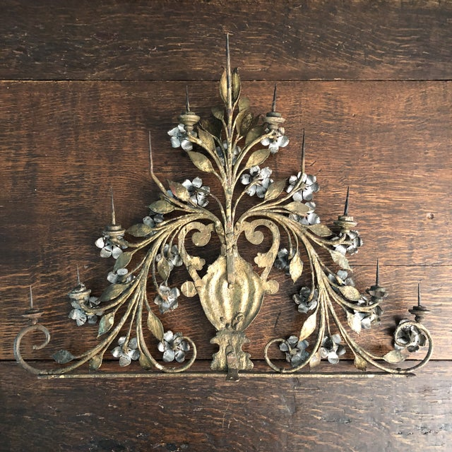 17th Century Renaissance Period Italian Hand Hewn Wrought Iron with Silver and Gold Gilt Detail Candelabrum. There is a...