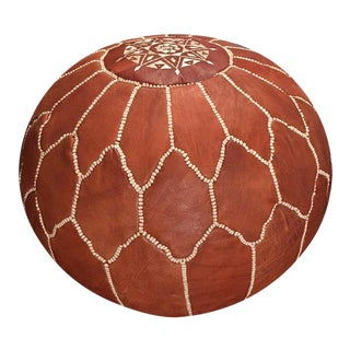 Half Arch Shell Pouf Ottoman by Mpw Plaza (Stuffed) Moroccan Leather Pouf Ottoman For Sale
