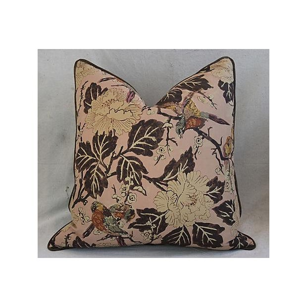 """Chinoiserie Custom Chinoiserie Floral & Birds Feather/Down Pillows 26"""" Square - Pair For Sale - Image 3 of 12"""