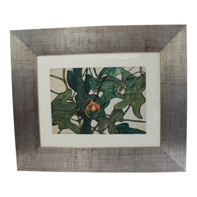 """Vintage Jane Peterson Watercolor Painting """"Spider Orchid"""" For Sale"""