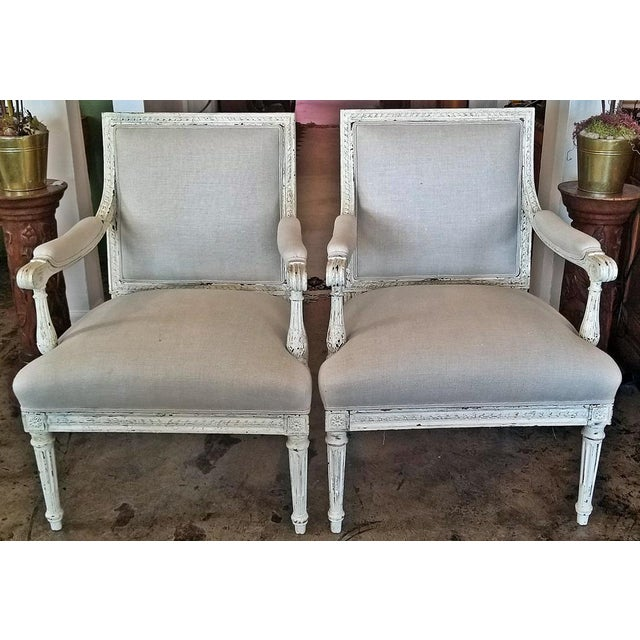 Louis XVI Style Pair of Painted Armchairs For Sale - Image 12 of 12