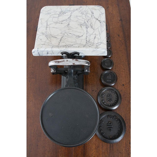Mid 19th Century English Victorian Cast Iron Scale & Weights - 9 Pc. Set For Sale - Image 5 of 6