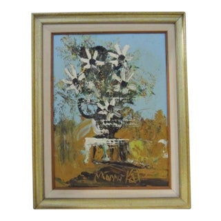1990s Morris Katz Five Daisies Framed Painting For Sale