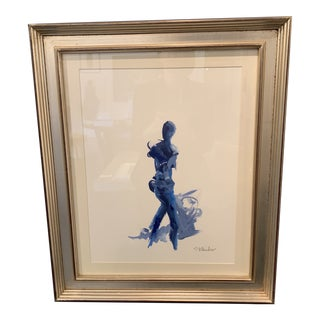 Contemporary Navy Nude Figure Painting by Stephanie Wheeler For Sale