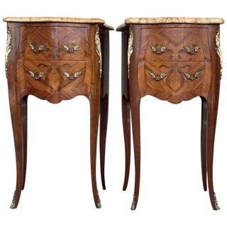 19th Pair of French Marquetry Nightstands With Roses and Marble Tops For Sale