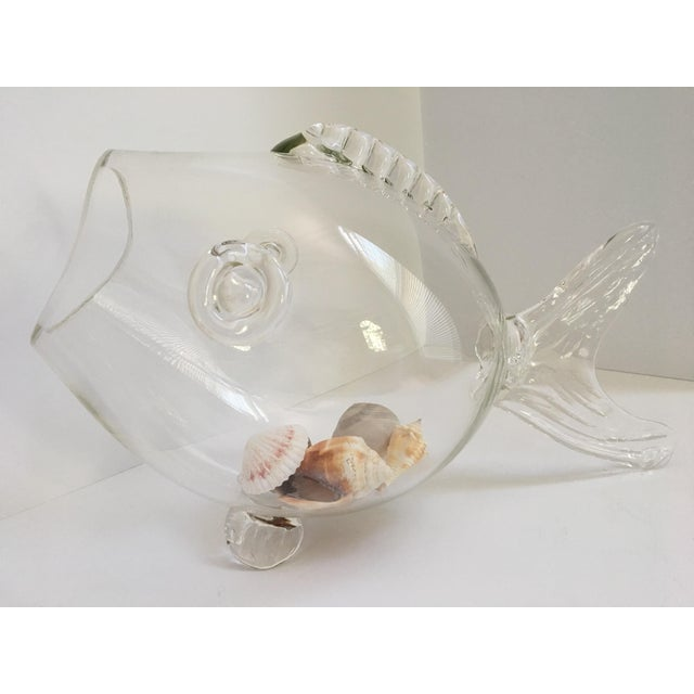 Large-Blenko Mid-Century Hand Blown Glass Fish Bowl For Sale - Image 11 of 11