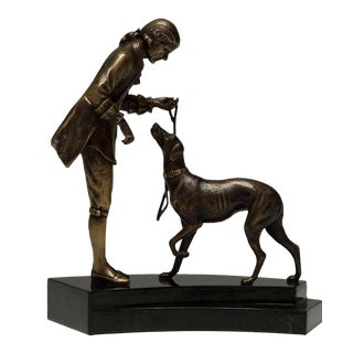 Scarborough House Brass Figure of Man and Dog For Sale