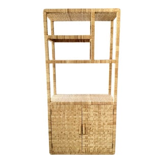 Boho Chic Bielecky Brothers Rattan Etagere With Lower Storage For Sale