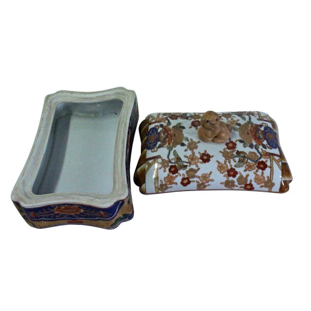 Vintage Oriental Flower Graphic Porcelain Rectangular Box Container For Sale In San Francisco - Image 6 of 7