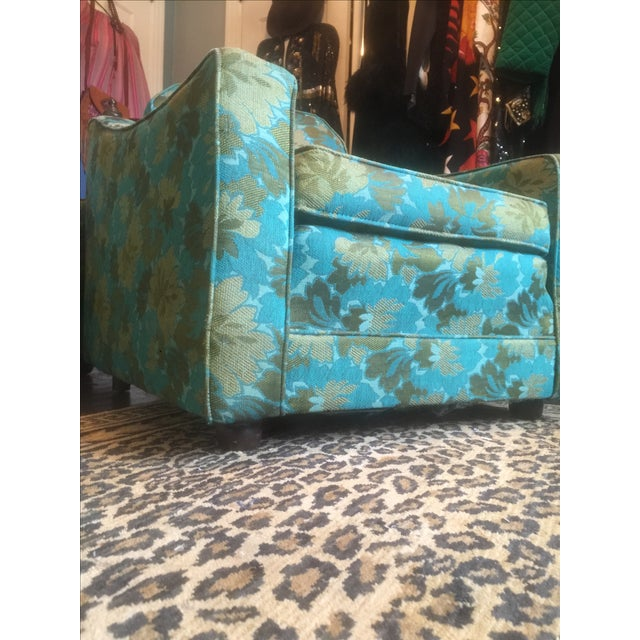 Mid-Century Green Floral Lounge Chair - Image 6 of 7