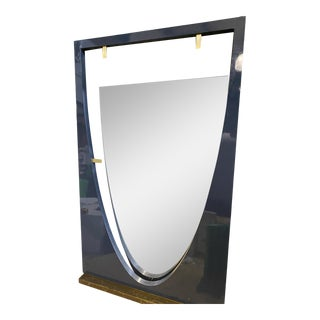 Navy Lacquered Floor Mirror For Sale